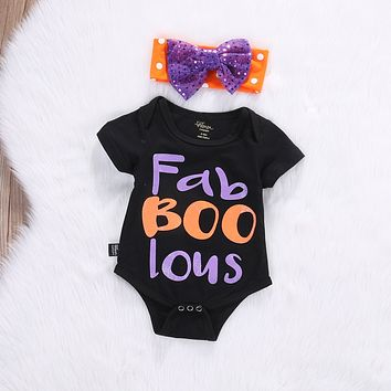 2PCS Newborn Infant Baby Girl Halloween letter Romper Jumpsuit Outfits Clothes+Hair Bow baby Girls clothes infant 2pcs suit