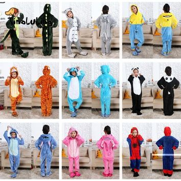 TINOLULING Kids Onesuits Sleepwear Children Funny Animal Pajamas Baby Boys Girls Minions Spiderman Stitch Tiger Dinosaur Pijamas