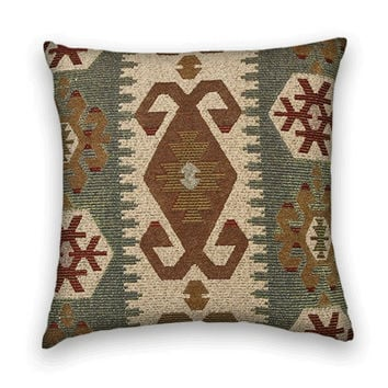 Kilim Decorative Pillow Cover- 20 x 20 Throw Pillow in Olive Green, Red, Sea Blue, Honey Mustard, Sand