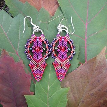 Micro macrame earrings - Red Purple Chestnut Bohemian Unique