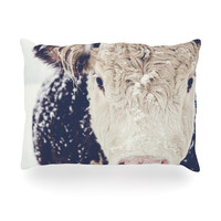 "Debbra Obertanec ""Snowy Cow"" Black White Oblong Pillow"