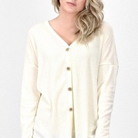 Must Have Solid Thermal Button +Tie Front L/S {Ivory}