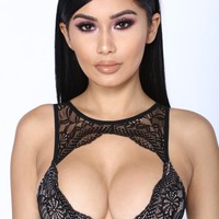 Greedy For Love Bralette - Black/Nude