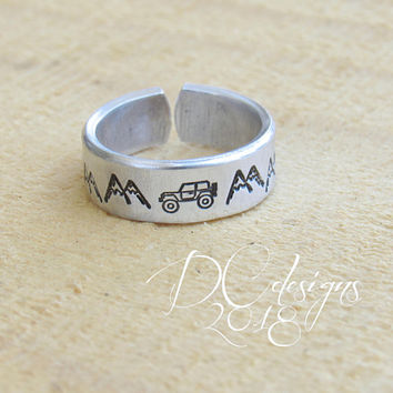 Jeep, Engraved Ring, Minimalist Ring, Simple Ring, Open Ring, Rings for Women, Rings for Men, Personalized Ring, Personalised Gift