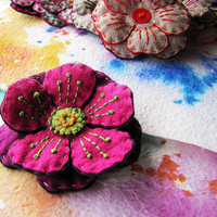 Boho Chic Handmade Casual Fuschia -Purple Colors Felt Flower Brooch /Hair Clip/Bag Clip