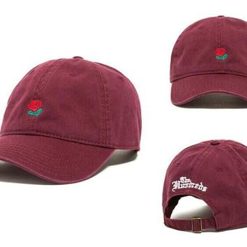 Red Rose Flower Baseball Caps Adjustable Sports Snapback