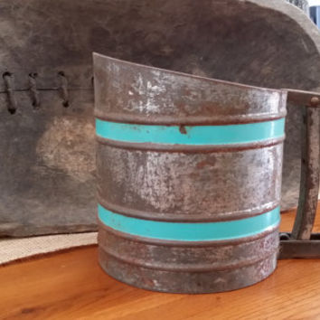 Vintage Sift-Chine Sifter With a Pop of Aqua Great Kitchen Decor Planter Mothers Day Gift