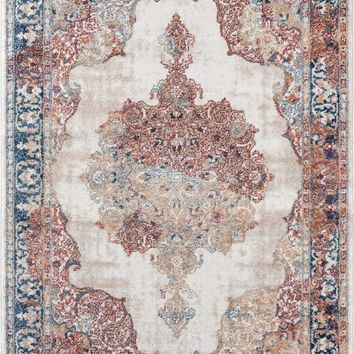2219 Ivory Persian Medallion Distressed Area Rugs