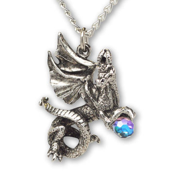 Dragon With Clear Faceted Crystal Ball Silver Finish Pendant Necklace NK-419