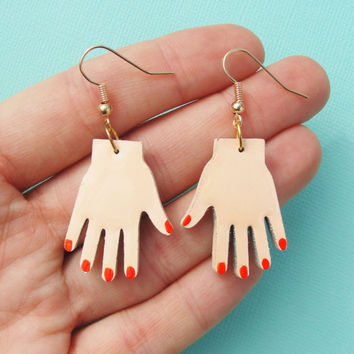 Little hand earrings - wooden laser cut earrings - miniature hands jewelry - dangle earrings - feminine - manicure hands
