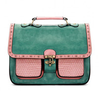 Green Batchel Bag with Contrast Trims