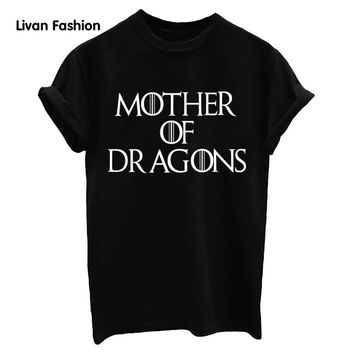 Women's Black White Style T Shirt Cotton Tops MOTHER DRAGONS  Letter Print Lady Casual Funny Hipster Clothing Women's HC-TT526