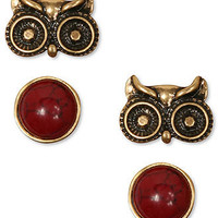 Lucky Brand Earrings Set, Gold Tone Owl and Semi-Precious Reconstituted Calcite Red Stud Earrings - Fashion Jewelry - Jewelry & Watches - Macy's
