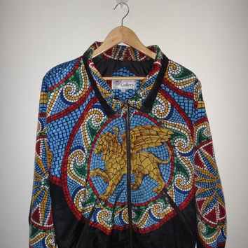 New Year Sale Vintage 80s GALLERY Talon Zipper Baroque aztec Hip Hop Jacket Silk RN43298 Rare