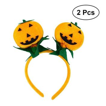 2pcs Cute Pumpkin Headband Hairband Hair Hoop Headpiece Halloween Party Costume Accessories (Orange)