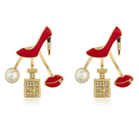 Goldtone with Red 'Ladies Night' Multi Charm Stud Earrings with Stones