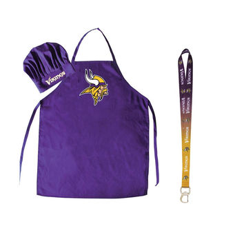 Minnesota Vikings NFL Barbeque Apron and Chef's Hat with Bottle Opener