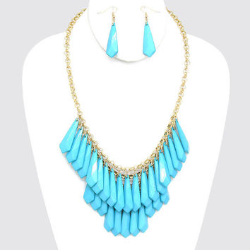Statement  Crystal Drop Bead Necklace Aqua Blue Fashion Jewelry New Boutique