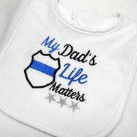 Baby Bib, Police Baby, Newborn to 6 Mo, White Terry Bib, Baby Shower Gift, LEO Baby Gift, Thin Blue Line, Blue Lives Matter, Cotton Bib