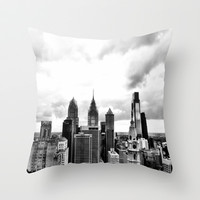 Black and White Philadelphia Throw Pillow by Andrew DiPrinzio