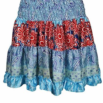 Mogul Womens Gypsy Sexy Skirt Full Flare Aster Printed Short Skirts (red,blue): Amazon.ca: Clothing & Accessories