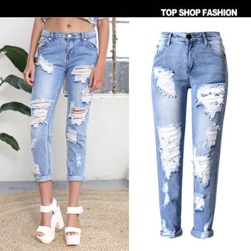 Summer Fashion Ripped Holes Strong Character Slim Star Plus Size Skinny Pants [6365922692]