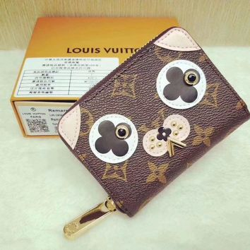 Lv Louis Vuitton Mini Dog Monogram Zipper Wallet