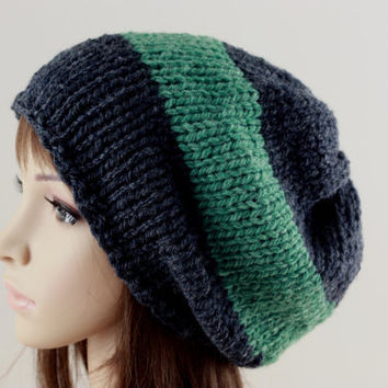 Hand Knit Hat Slouchy Hat Women s Men's Beanie Hat Black and Green