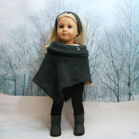 American Girl Doll Clothes 5 pc set: Hunter green Poncho, Black Knit Pants, White Top, Headband, Bracelet