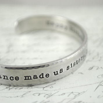 Design Your Own 2 Sided Secret Message Hand Stamped Bracelet- Personalized Bracelet