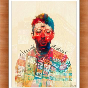 "PARANOID ANDROID (Thom Yorke of Radiohead) 8x10"" Digital Illustration High Gloss Print by MOPS"