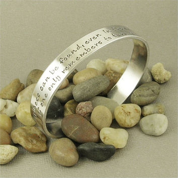 Happiness can be found... Harry Potter inspired Hand Stamped Aluminum Cuff Bracelet
