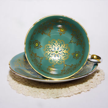 Rare Vintage Ornate Gold Teacup Paragon Hand Painted Art Deco Wide Tea Cup Green Blue Floral Cup and Saucer High Tea China Cabinet Decor