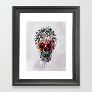 Sugar Skull Framed Art Print by RIZA PEKER