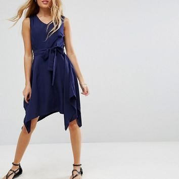 Yumi Petite Hanky Hem Dress With Tie Waist at asos.com