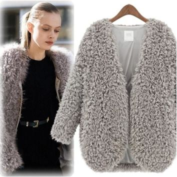 Fall Fashion Trendy Fluffy Coats Shaggy Faux Fur Cape Cardigan Jacket For Women