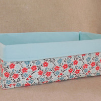 Gorgeous Aqua and Coral Floral Fabric Basket