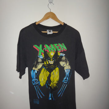 Vintage X-Men Wolverine Logan Marvel Comics 1992 1990s T Shirt Heavy Used