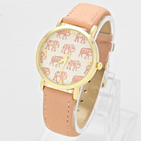 Elephant Leather Watch Coral
