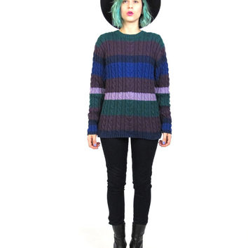 90s Striped Cable Knit Sweater Grunge Purple Blue Jumper Preppy Womens Cotton Long Sleeve Winter Pullover Sweater (M/L)