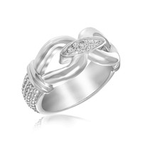 Sterling Silver Rhodium Plated Popcorn Loop Diamond Accented Ring (.06ct tw): Size 7