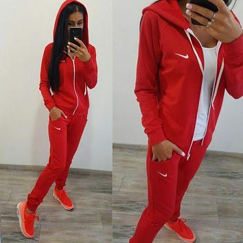 DCCKN7K Women Fashion 'NIKE'  Hoodie Top Sweater Pants Sweatpants Set Two-Piece Sportswear