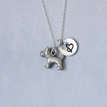 Dog Necklace. Scottie Necklace. Personalized Initial Necklace. Friendship Necklace.Sterling Silver necklace. No.214