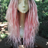 Pastel Pink Synthetic Lace Front Dreadlock Wig * Pastel Goth * Strega * Shaman * Tribal * Kawaii * Fairy Kei * Harajaku * Fairy * Faerie *