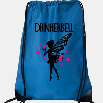 """Drawstring Gym Bag  """"Drinkerbell""""  Funny Workout Squatting Gift"""