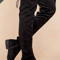 Into Action Black Over The Knee Boots