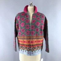 Vintage Oilly Pink Floral Wool Zip Front Cardigan Sweater