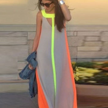Fashion Stitching Sleeveless Loose Summer Maxi Gown Chiffon Dress