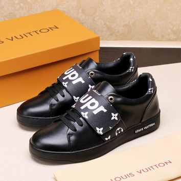 LV Louis Vuitton Supreme Men's Leather Fashion Sneakers Shoes