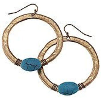 Wire-wrapped Bead Hammered Hoops. Worn Gold Plating Hammered Hoop Earrings with Wire-wrapped Teal Bead Fish Hook Ear Wires